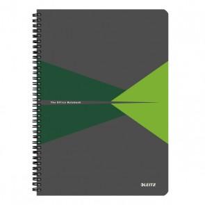 """Spirálfüzet, A4, kockás, 90 lap, laminált karton borító, LEITZ """"Office"""", szürke-zöld"""