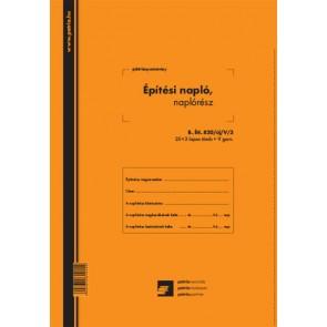 "Építési napló 25x3 lapos tömb + 9 db 3 lapos garnitúra ""B.ETI.820/UJ/V/3"""